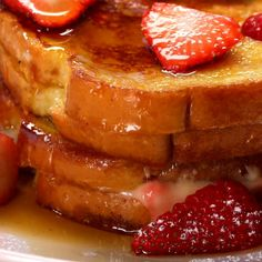 Here's what you need: bread, egg, vanilla, milk, cinnamon, cream cheese, vanilla extract, lemon juce, heavy cream, strawberry, sugar, confectioners sugar, maple syrup