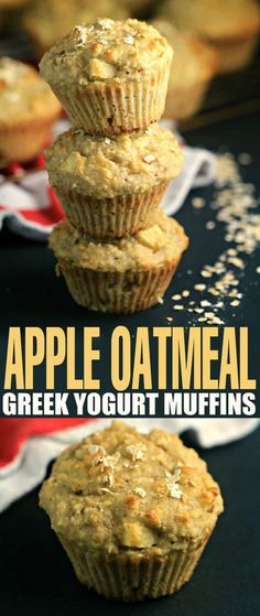 These Apple Oatmeal Greek Yogurt Muffins are bursting with apples and oats. They make for a healthier muffin made with NO butter or oil! Perfect recipe for breakfast, dessert or a light snack.