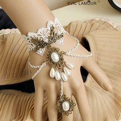 antique slave bracelets   Vintage white handflower statement bracelet slave bracelet wedding ...