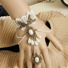 antique slave bracelets | Vintage white handflower statement bracelet slave bracelet wedding ...