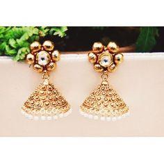 Antique Gold Flower Jhumki Earrings
