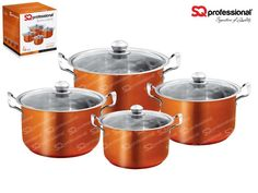 """4pc CASSEROLE SET """"AMBER"""" - SQ Professional brings you its brand new flagship 'Gems' range of cookware. This sets sparkles with the brilliance of the gemstones after which it is named. Made from high quality stainless steel, they come complete with vented, tempered glass lids. You can be certain that a set from the Gems range will be the talking point in any kitchen. Dimensions: 3.7L - ø20cm x 12cm 