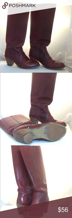 Vintage Dexter low heel Boots -Burgundy Vintage Dexter Boots Burgundy stacked heel. They seem a bit on the small side to me. dexter Shoes Heeled Boots