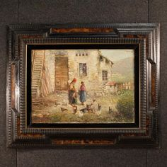 20th Century Italian Signed Painting Landscape With Characters