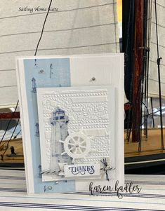 Having a play with making my own stencils and using embossing paste so much fun !...this Come Sail Away Suite makes it so easy :-) Please see my blog for video link.  #stampinup #stampinupdemo #stampinupdemonstrator #stampingbees #cardmaking #cardmakingideas #comesailaway #sailingjome #Embossing #stencils #sailing #boats #lighthouse Seaside Theme, Nautical Theme, Birthday For Him, Birthday Cards, Make Your Own Stencils, Beach Cards, Stampin Up Catalog, Die Cut Cards, Stamping Up Cards