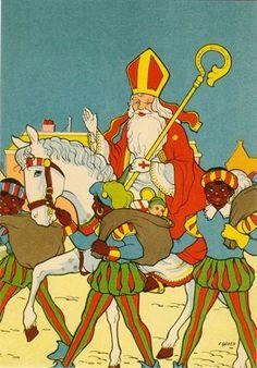 Sinterklaas op zijn paard - L.N. van Groen