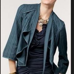 """CAbi """"Must Have"""" Bolero Waterfall Jacket So fun and whimsical! Love the deep blue and the flowing waterfall collar. Like new!! The Chic Shed; A Current and Classic Fashion Curation.  10% OFF BUNDLES I ❤️ THE OFFER BUTTON ❌NO PP, TRADES, HOLDS❌  15% OFF RETURN BUYER BUNDLES CAbi Jackets & Coats Blazers"""