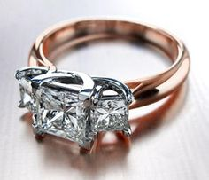 3 Stone Princess Cut Engagement Ring in 18k Rose Gold - OH MY WOW!!