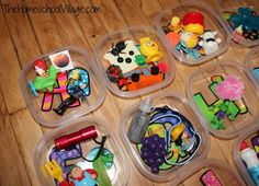 Organizing Preschool Alphabet Boxes - maybe 5 at a time and then switch them out