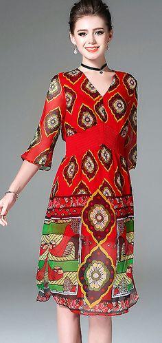 Ethnic V-Neck Flare Sleeve Floral Print A-Line Dress