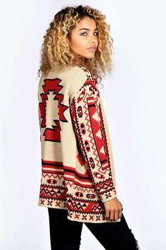 Boohoo Ally All Over Aztec Print Cardigan  - on Vein - getvein.com