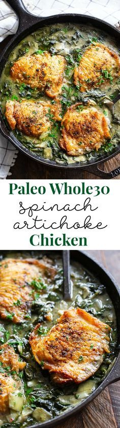 This spinach artichoke chicken is crispy, creamy, and packed with flavor!  It's Paleo, Whole30 compliant,keto friendly, dairy free, and made all in one skillet.  Great served alone or over cauliflower rice! Paleo dinner. Whole30 dinner. One pan dinner.