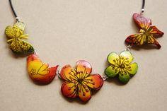 polymer clay necklace: springtime.