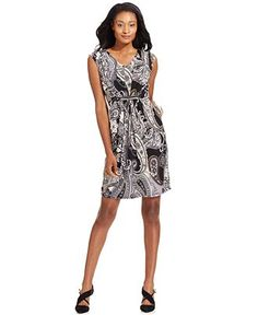 NY Collection Printed Hardware-Detail Dress - Dresses - Women - Macy's