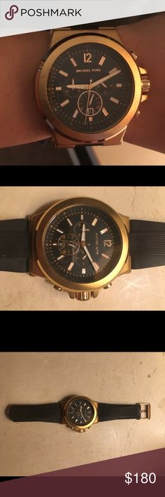 Michael Kors Men's rose gold watch Rose gold MK mens watch. The band has been cut and cannot be fixed. It fits my wrist and I have a medium sized wrist and am female. Let me know if you have any questions! Some wear. Michael Kors Accessories Watches