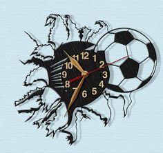 Soccer, Football, Wooden Wall Clock 12inch(30cm), Sport, Contemporary Clock, Black Wall Art Decor, Wood clock, Home decor, Coach Gift