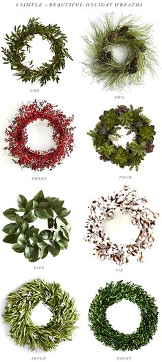 8 Simple + Elegant Holiday Wreaths Holiday Wreaths, Holiday Fun, Christmas Mom, Xmas, Christmas Ideas, Christmas Cards, Red Berry Wreath, Olive Wreath, Advent