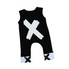 8f28ebc2856 X Black White Sleeveless Romper. Baby Boy NewbornBaby BoysPrinted  JumpsuitOutfit SummerKids ...