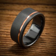 Offset Copper Stripe Black Zirconium Ring--nate actually likes this one :)