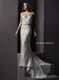 Glamorous blouson wedding dress with illusion neck and keyhole back, Renata by Sottero and Midgley.