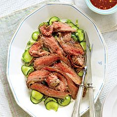 Leave out garlic and use scallion greens only for low-FODMAP. Flank Steak and Cucumber Salad Recipe