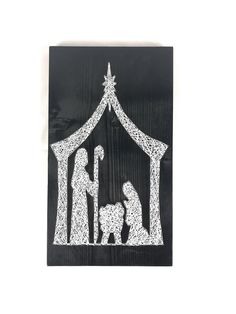 This basic Nativity on reclaimed wood has a whopping 232 nails! (A lot of pounding) I kept the original version on natural and reclaimed wood because I wanted it to be like the stable the Christ child was born into. You are more than welcome to change stain and string color, just