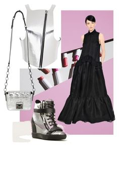 """Silver Harness"" by skad183 on Polyvore featuring Rochas, Giuseppe Zanotti, Fleet Ilya, Karl Lagerfeld, Leather, dress and hightops"