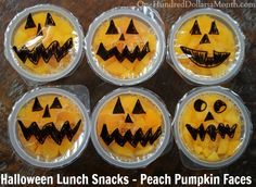 "Halloween Lunch Snacks – Peach Pumpkin Faces. When my kids were little, I used to pack their lunches.  Around the holidays, I always tried to include something ""fun.""  Now they are older, and would be mortified if I packed them a holiday ""treat"" in their lunch, so I am going to have to live..."