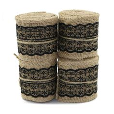 UEETEK 4pcs 2M6CM Natural Jute Burlap Ribbon Pink Lace Craft Hessian Table Runner for Wedding Part Home Deco (Black) * More info could be found at the image url.