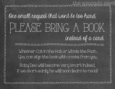 Chalkboard Bring a Book Baby Shower Invite by TheAvocadoSeed love this idea