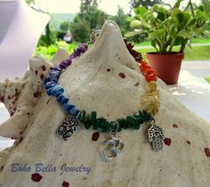 Chakra Anklet - Yoga Anklet, Natural Stone with Silver Om, Lotus, and Hamsa Hand Charms