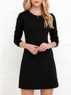 Black Long Sleeve Round Neck Dress 11.00