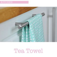 To add some colour and print to my white kitchen units I just run a pretty spot tea towel through a handle on the kitchen cupboard door under the drainer. Kitchen Cupboard Doors, Kitchen Units, Tea Towels, Birthday Wishes, Bathroom Hooks, Home Kitchens, Pantries, Mint, Pretty