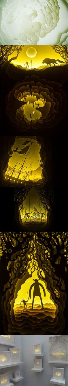 lluminated Paper Cut Light Box Dioramas