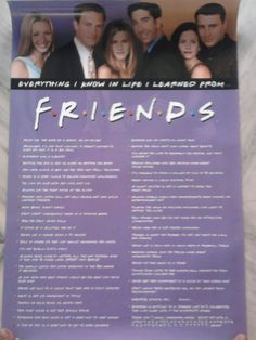 everything i know in life i learned from friends poster