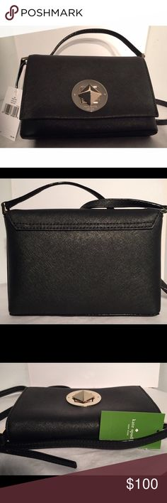 NWT Kate Spade Newbury Lane Sally Leather Bag The PERFECT little black purse! Kate Spade saffiano leather shoulder bag with adjustable crossbody strap with a maximum drop of approx. 22 inches. Flap with turn lock closure. Interior features 1 slip pocket Approx. dimensions: 7.5 in L x 5 in H x 1 in W. Solid black. Brand new, with tags. kate spade Bags Crossbody Bags