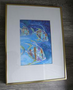 Tropical Colorful Fish Print of Watercolor Numbered 37/40 Linda Stickland  #Realism