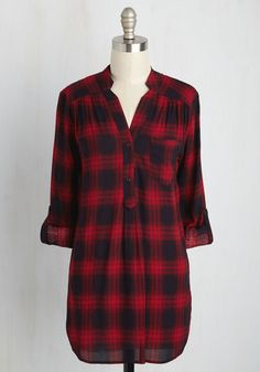 At-Home Editor Tunic. That queue of freelance requests wont finish itself, so don this red plaid tunic and hop to it! #red #modcloth