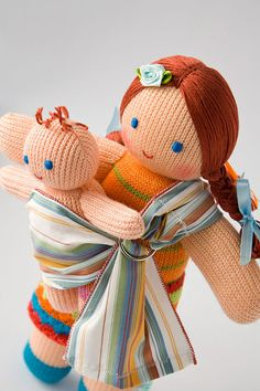 Babywearing Mommy Doll with a Baby Doll - knitted play dolls, eco-friendly, maternity, waldorf