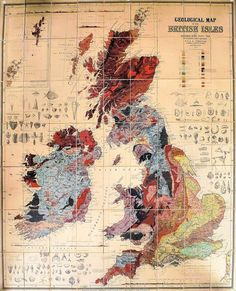 Archibald Geikie - A large coloured geological map of the British Isles, engraved by W and A.K. Johnson, Edinburgh 1864, with engravings of ...