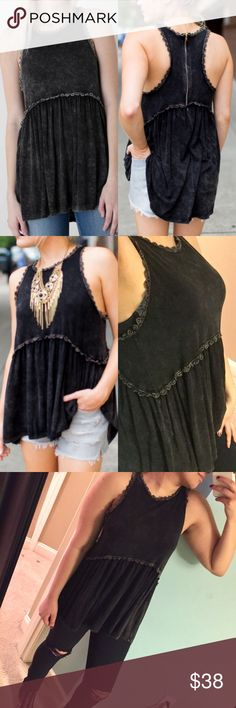 Charcoal black babydoll tank top Features crochet detailing & half zipper on back. Very soft-feel. Color is a faded charcoal look. Brand new without tags Brandy Melville Tops Tank Tops