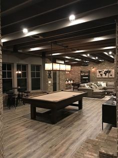 Industrial style basement, but have stained concrete floors instead.