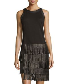 Tiered+Fringe+Sleeveless+Dress,+Black+by+Grayse+at+Neiman+Marcus+Last+Call.