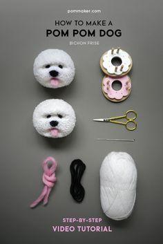 How to make a pom pom dog (Bichon Frise) - Pom Maker Blog
