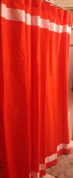 The finished product - - now to make another on in a custom color. This one is too bright - need to dye fabric to the appropriate orange color! Shower Rod, Custom Shower Curtains, L Shape, Orange Color, Bright, Fabric, How To Make, Home Decor, Tejido