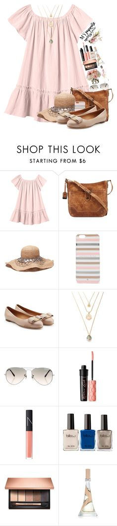 """""""s p r i n g t i m e l o v i n '"""" by thatgirlnamedkaite ❤ liked on Polyvore featuring Rebecca Taylor, Frye, Kate Spade, Salvatore Ferragamo, Ray-Ban, Benefit, NARS Cosmetics, Clarins and Diane James"""