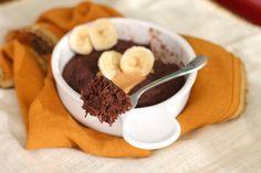 Healthy Single-Serving Chocolate Peanut Butter Banana Microwave Cake (sugar free, gluten free, vegan)