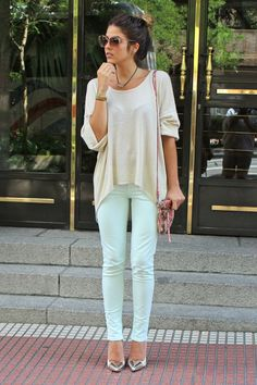 I really really love mint colored jeans