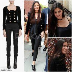 want a similar black double breasted short stylish coat katrina is wearing - SeenIt Katrina Kaif Photo, Bollywood Fashion, Bollywood Style, Stylish Coat, Celebs, Celebrities, Street Style Looks, Celebrity Style, Hippie Style