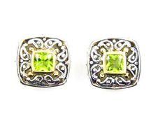 .50ct Peridot Stud Earrings Sterling Silver 18KT Gold